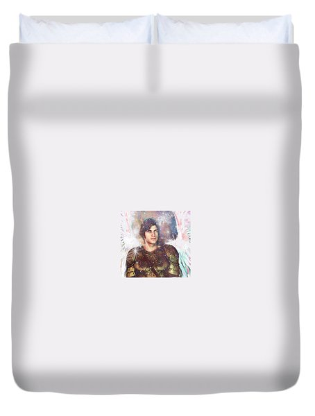 Duvet Cover featuring the painting Celestial Light by Suzanne Silvir