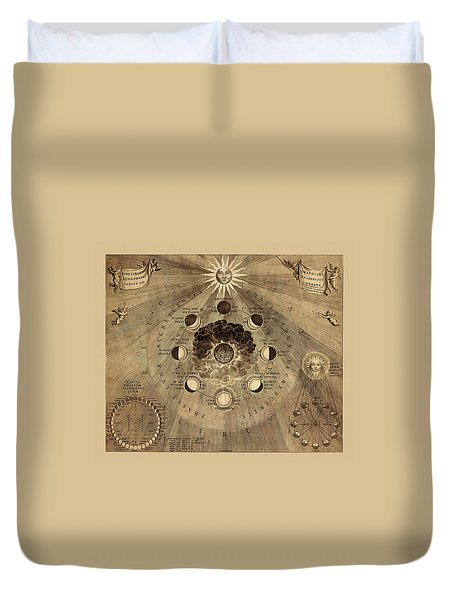Celestial Map 1710b Duvet Cover by Andrew Fare