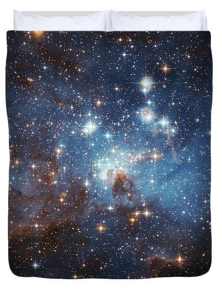 Duvet Cover featuring the photograph Celestial Season's Greetings From Hubble by Nasa