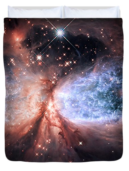 Duvet Cover featuring the photograph Celestial Snow Angel - Enhanced - Sharpless 2-106 by Adam Romanowicz