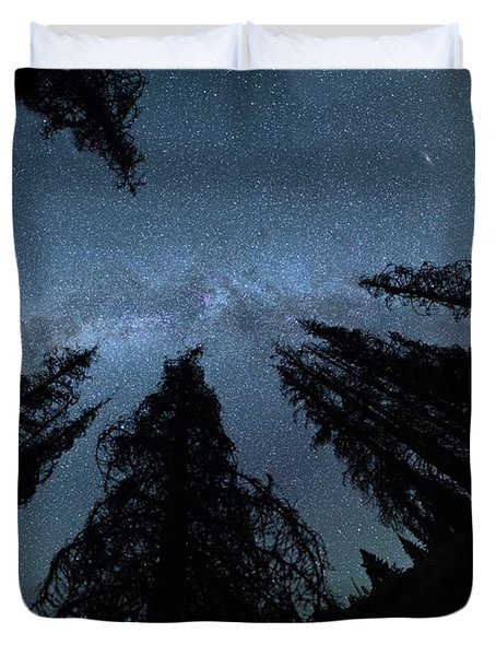 Duvet Cover featuring the photograph Celestial Starlight In The Forest Near  Lake Irene Colorado by OLena Art Brand