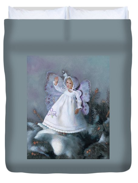 Duvet Cover featuring the painting Celestine Snow Fairy by Nancy Lee Moran