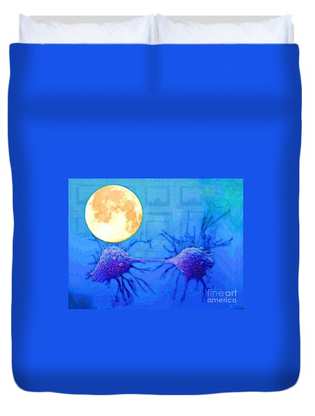 Cell Division Under Full Moon Duvet Cover by Mojo Mendiola