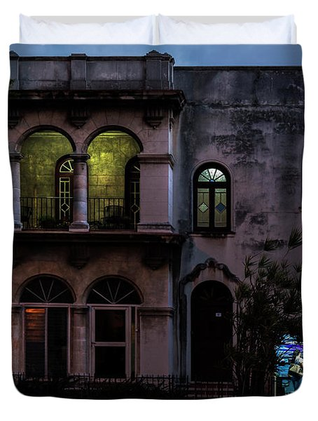 Duvet Cover featuring the photograph Cell Phone Shop Havana Cuba by Charles Harden