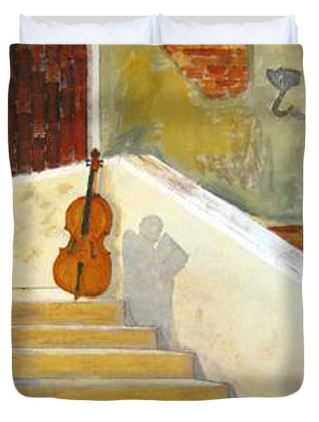 Duvet Cover featuring the painting Cello No 3 by Richard Le Page