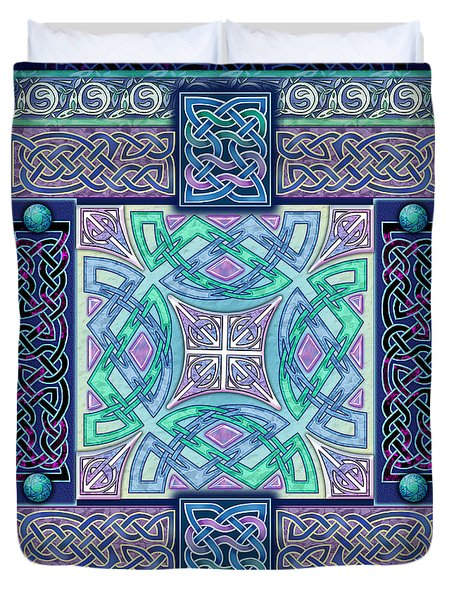 Duvet Cover featuring the mixed media Celtic Atlantis Opal by Kristen Fox