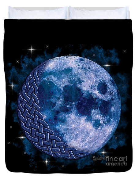 Duvet Cover featuring the mixed media Celtic Blue Moon by Kristen Fox