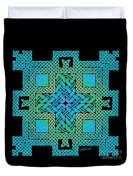 Duvet Cover featuring the mixed media Celtic Castle by Kristen Fox