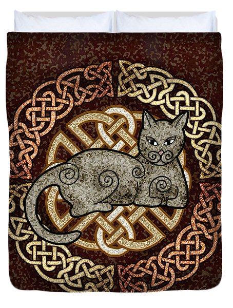 Duvet Cover featuring the mixed media Celtic Cat by Kristen Fox