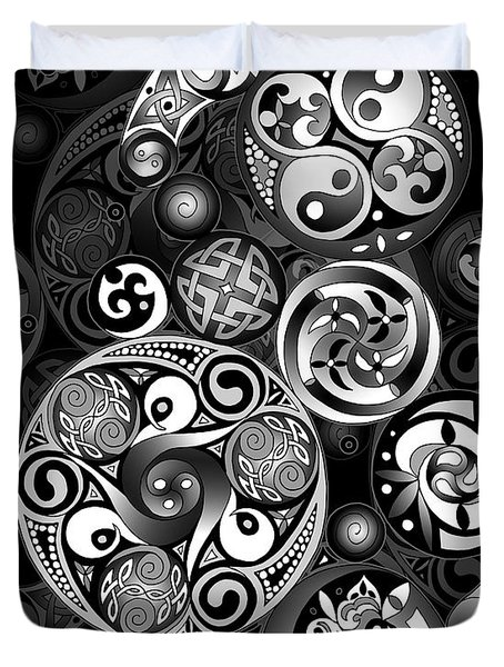 Duvet Cover featuring the mixed media Celtic Clockwork by Kristen Fox