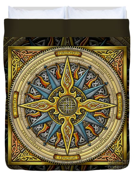 Duvet Cover featuring the mixed media Celtic Compass by Kristen Fox
