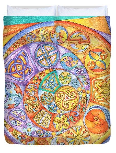 Celtic Crescents Rainbow Duvet Cover