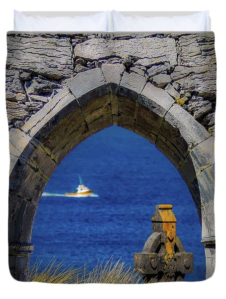 Duvet Cover featuring the photograph Celtic Cross And Fishing Vessel From Isle Of Inisheer by James Truett