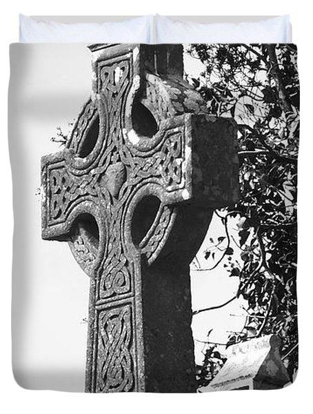 Celtic Cross At Fuerty Cemetery Roscommon Ireland Duvet Cover