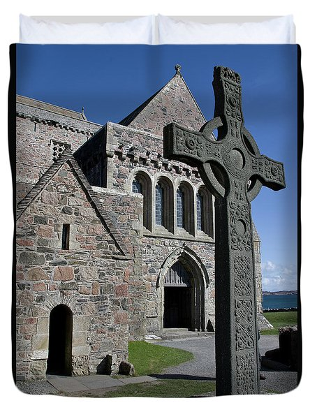 Celtic Cross, Iona, Scotland Duvet Cover