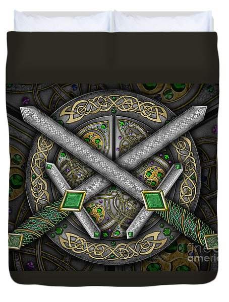 Duvet Cover featuring the mixed media Celtic Daggers by Kristen Fox