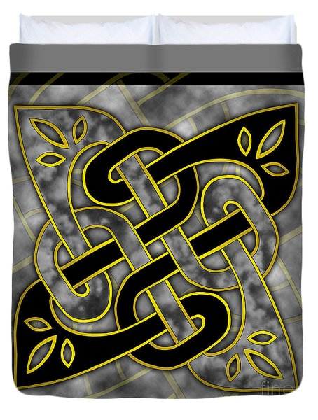 Duvet Cover featuring the mixed media Celtic Dark Sigil by Kristen Fox