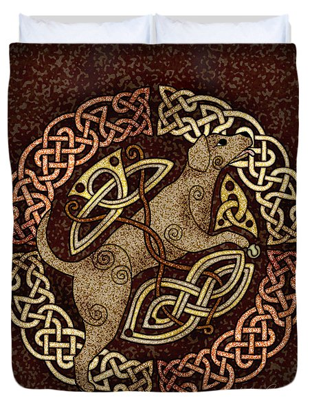 Duvet Cover featuring the mixed media Celtic Dog by Kristen Fox