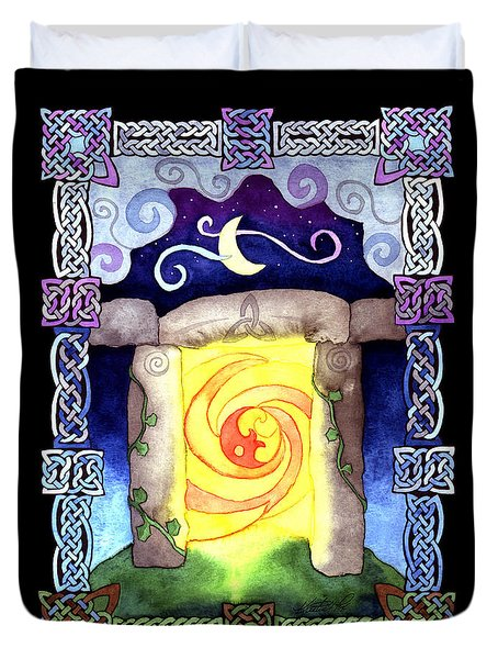 Duvet Cover featuring the painting Celtic Doorway by Kristen Fox