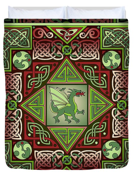 Duvet Cover featuring the mixed media Celtic Dragon Labyrinth by Kristen Fox