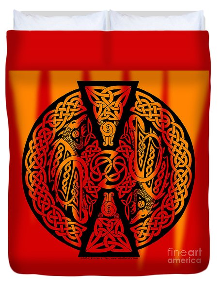 Duvet Cover featuring the mixed media Celtic Dragons Fire by Kristen Fox