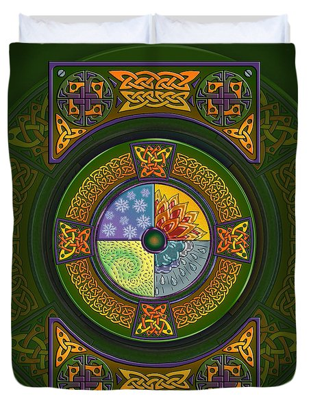 Duvet Cover featuring the mixed media Celtic Elements by Kristen Fox