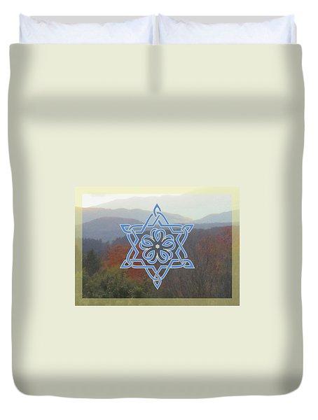 Celtic Hexagram Rose In Blue Duvet Cover