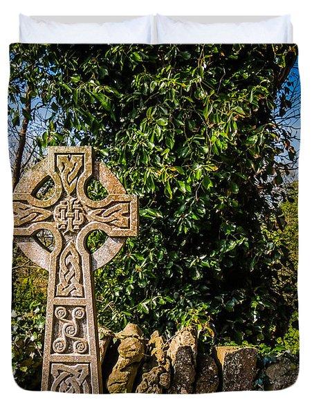 Celtic Knots Decorate A Celtic Cross Duvet Cover