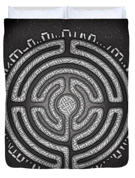 Duvet Cover featuring the mixed media Celtic Labyrinth Mandala by Kristen Fox