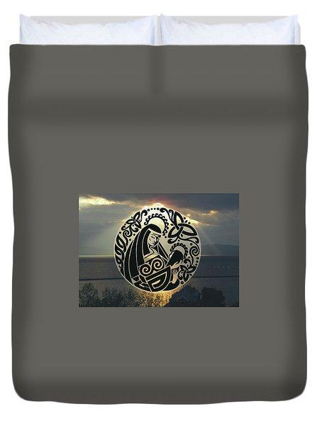 Celtic Madonna Over Sunset Duvet Cover