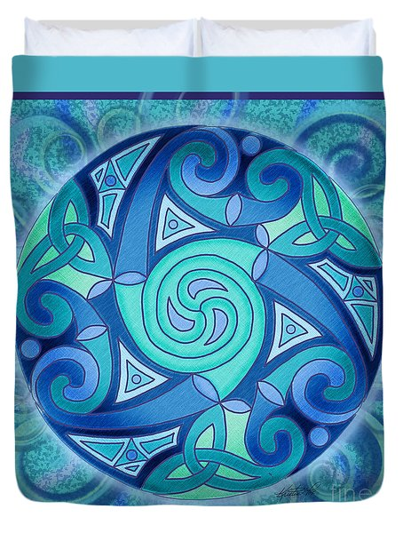 Duvet Cover featuring the mixed media Celtic Planet by Kristen Fox