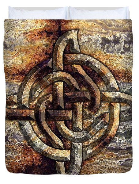 Duvet Cover featuring the mixed media Celtic Rock Knot by Kristen Fox
