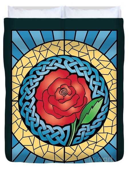 Celtic Rose Stained Glass Duvet Cover