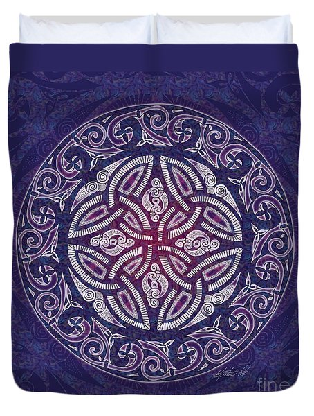 Duvet Cover featuring the mixed media Celtic Shield by Kristen Fox
