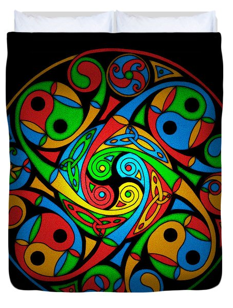Duvet Cover featuring the mixed media Celtic Stained Glass Spiral by Kristen Fox