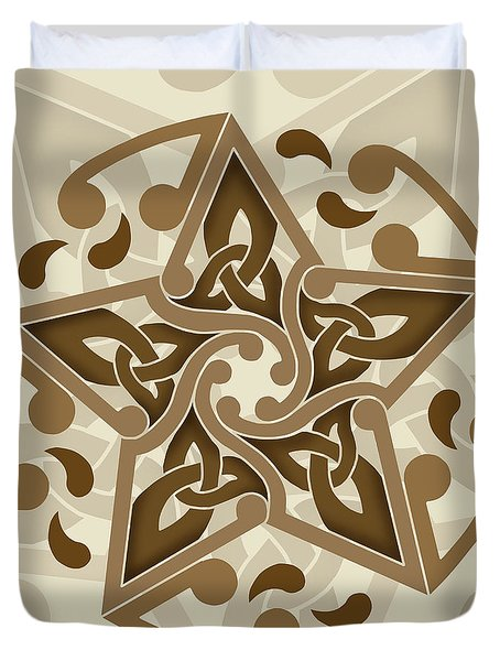 Duvet Cover featuring the mixed media Celtic Star by Kristen Fox
