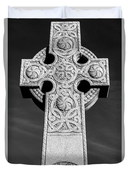 Duvet Cover featuring the photograph Celtic Stone Cross At Sunset by Gary Whitton