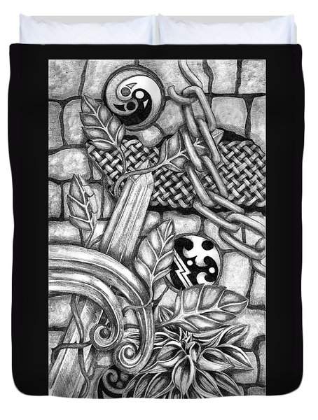 Duvet Cover featuring the drawing Celtic Surreality by Kristen Fox