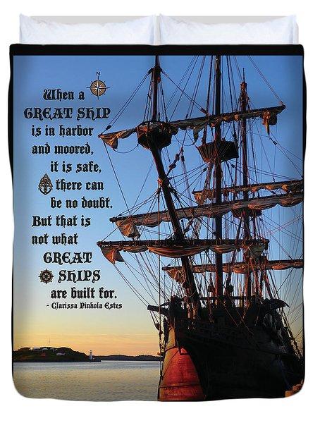 Celtic Tall Ship - El Galeon In Halifax Harbour At Sunrise Duvet Cover