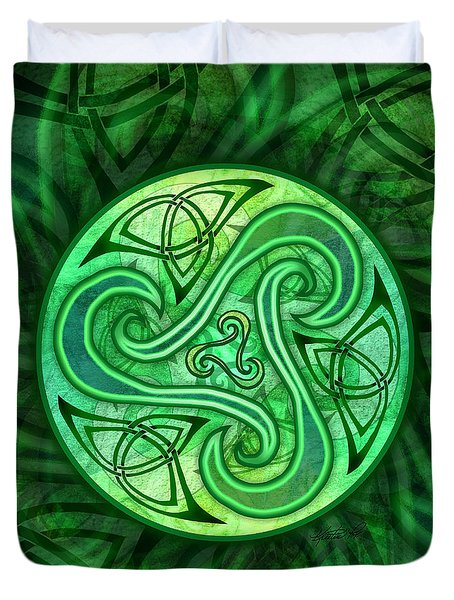 Duvet Cover featuring the mixed media Celtic Triskele by Kristen Fox