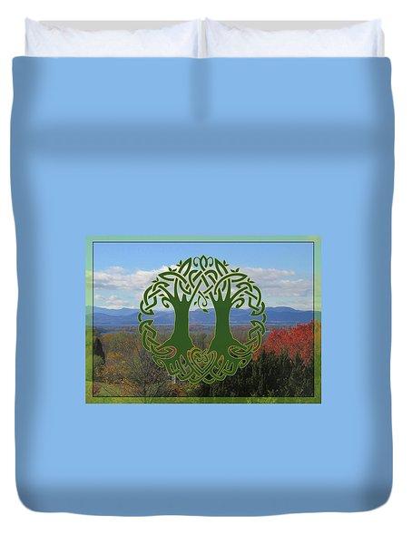 Celtic Wedding Tree In Green Duvet Cover