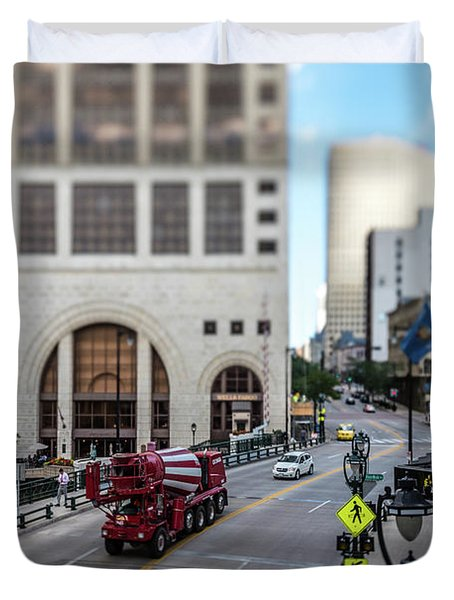 Cement Truck In The Itty-bitty-city Duvet Cover
