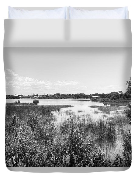 Duvet Cover featuring the photograph Cemetary Point Boardwalk by Howard Salmon