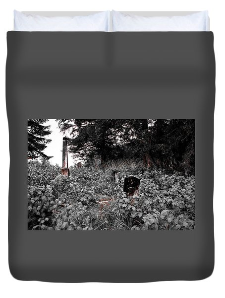 Cemetery In Red Duvet Cover
