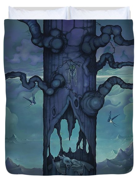 Duvet Cover featuring the painting Cenotaph by Andrew Batcheller
