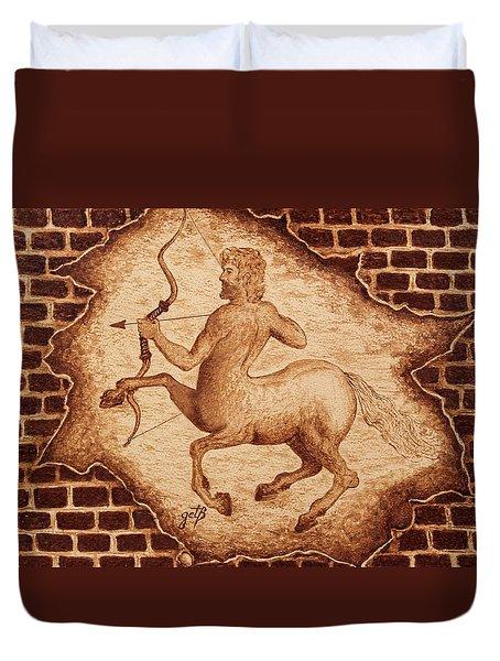 Centaur Hunting Original Coffee Painting Duvet Cover by Georgeta Blanaru