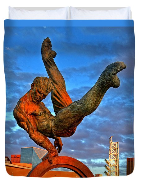 Centennial Park Statue 001 Duvet Cover by George Bostian