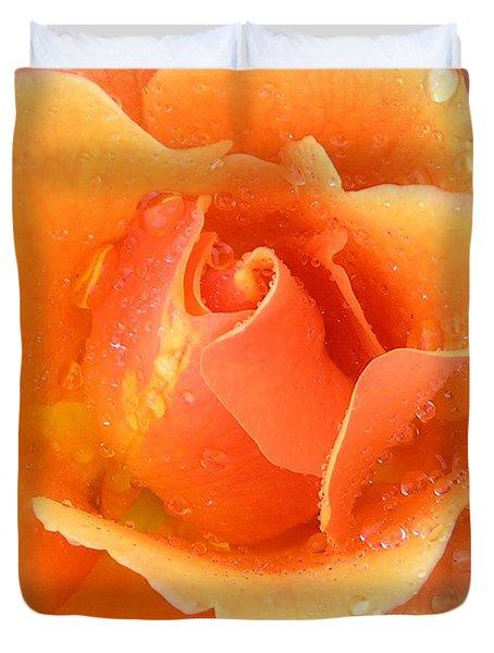 Center Of Orange Rose Duvet Cover by John Lautermilch