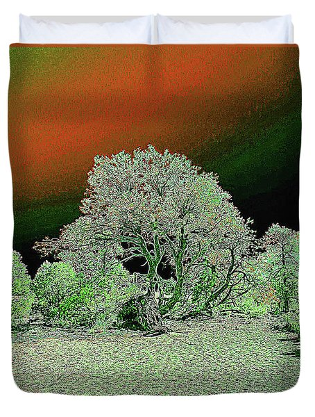 Duvet Cover featuring the digital art Center Tree With Character And Neighbors by Merton Allen