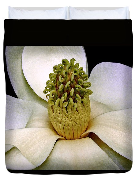 Duvet Cover featuring the photograph Centerpiece - Magnolia Blossom 010 by George Bostian